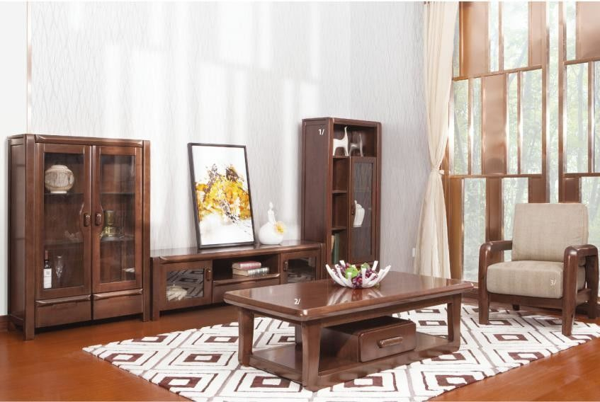 Solid Wood Furniture / Living Room Furniture Modern Style Wall Unit Coffee Table