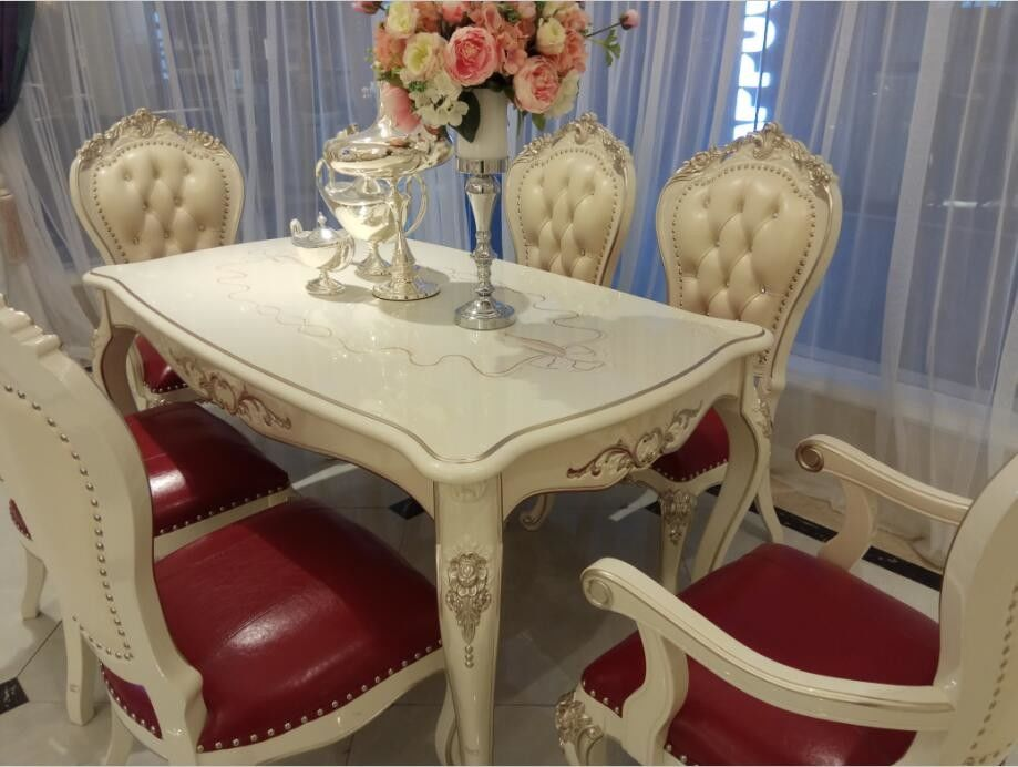 Six Seat Classic French Furniture White Dining Table Rose Carve Pattern Crooked Legs